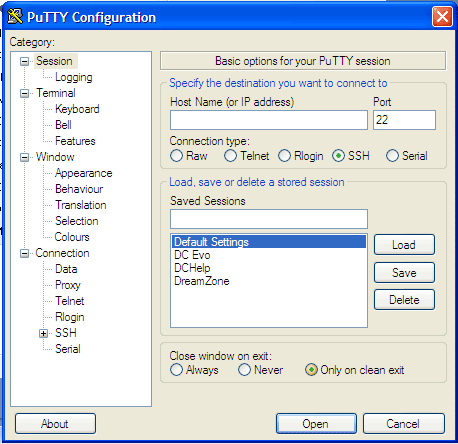 Opening screen of PuTTY