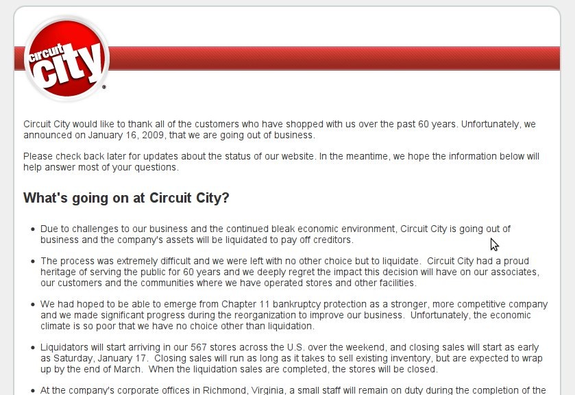 An evaluation of the company web site of circuit city