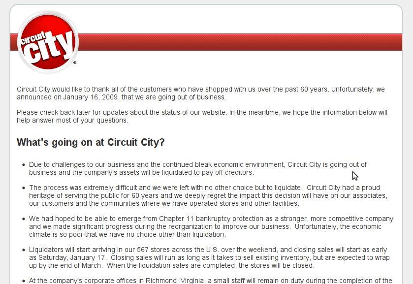 Circuit Citys Web Site